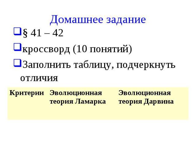 Домашнее задание § 41 – 42 кроссворд (10 понятий) Заполнить таблицу, подчеркнуть отличия Критерии Эволюционная теория Ламарка Эволюционная теория Дарвина