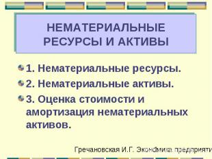 НЕМАТЕРИАЛЬНЫЕ РЕСУРСЫ И АКТИВЫ 1. Нематериальные ресурсы. 2. Нематериальные акт