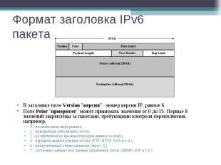 """Формат заголовка IPv6 пакета В заголовке поле Version \""""версия\"""" - номер версии"""