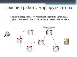 Принцип работы маршрутизатора Маршрутизатор использует сообщения третьего уровня