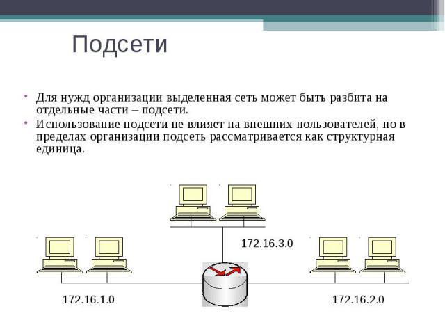 Подсети Для нужд организации выделенная сеть может быть разбита на отдельные части – подсети. Использование подсети не влияет на внешних пользователей, но в пределах организации подсеть рассматривается как структурная единица. 172.16.1.0 172.16.2.0 …