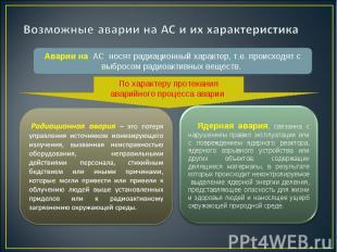 Аварии на АС носят радиационный характер, т.е. происходят с выбросом радиоактивн