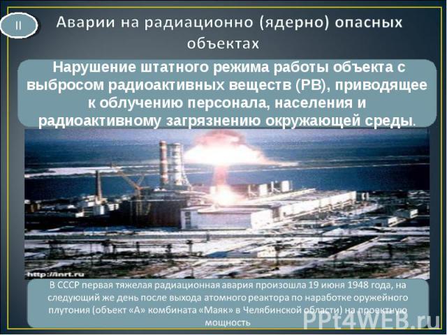 Нарушение штатного режима работы объекта с выбросом радиоактивных веществ (РВ), приводящее к облучению персонала, населения и радиоактивному загрязнению окружающей среды. II