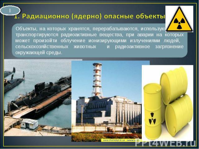 Объекты, на которых хранятся, перерабатываются, используются или транспортируются радиоактивные вещества, при аварии на которых может произойти облучение ионизирующими излучениями людей, сельскохозяйственных животных и радиоактивное загрязнение окру…