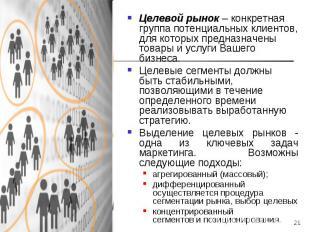 * Целевой рынок – конкретная группа потенциальных клиентов, для которых предназн