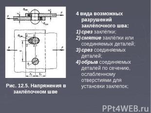 Рис. 12.5. Напряжения в заклёпочном шве 4 вида возможных разрушений заклёпочного
