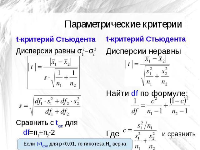 Параметрические критерии t-критерий Стьюдента Дисперсии равны σ12=σ22 Сравнить с tкрит. для df=n1+n2-2 t-критерий Стьюдента Дисперсии неравны Найти df по формуле: Где и сравнить Если t