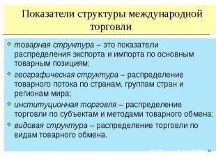 * Показатели структуры международной торговли товарная структура – это показател