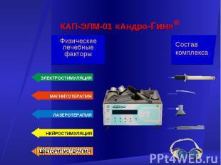 Состав комплекса Физические лечебные факторы КАП-ЭЛМ-01 «Андро-Гин» ® НЕЙРОСТИМУ
