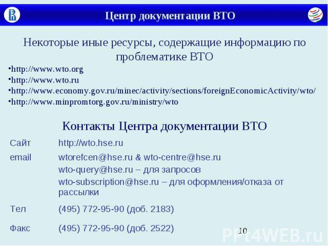 Центр документации ВТО Некоторые иные ресурсы, содержащие информацию по проблематике ВТО http://www.wto.org http://www.wto.ru http://www.economy.gov.ru/minec/activity/sections/foreignEconomicActivity/wto/ http://www.minpromtorg.gov.ru/ministry/wto К…