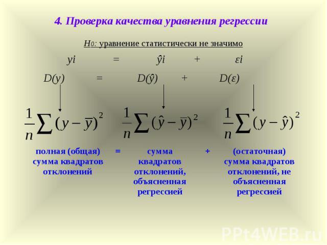4. Проверка качества уравнения регрессии Н0: уравнение статистически не значимо yi = ŷi + εi D(y) = D(ŷ) + D(ε) полная (общая) сумма квадратов отклонений = сумма квадратов отклонений, объясненная регрессией + (остаточная) сумма квадратов отклонений,…