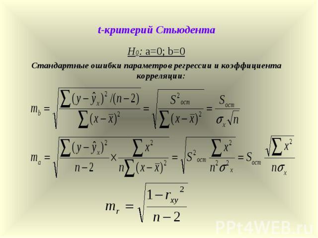 t-критерий Стьюдента Н0: а=0; b=0 Стандартные ошибки параметров регрессии и коэффициента корреляции: