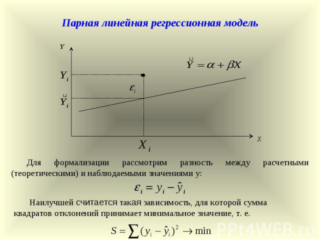 Парная линейная регрессионная модель Для формализации рассмотрим разность между расчетными (теоретическими) и наблюдаемыми значениями у: Наилучшей считается такая зависимость, для которой сумма квадратов отклонений принимает минимальное значение, т. е.