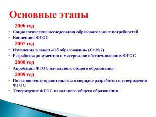 2006 год Социологические исследования образовательных потребностей Концепция ФГО