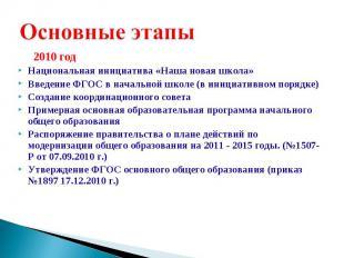 2010 год Национальная инициатива «Наша новая школа» Введение ФГОС в начальной шк