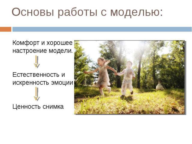 Основы работы с моделью: Комфорт и хорошее настроение модели. Естественность и искренность эмоции Ценность снимка