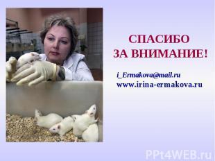 СПАСИБО ЗА ВНИМАНИЕ! i_Ermakova@mail.ruwww.irina-ermakova.ru