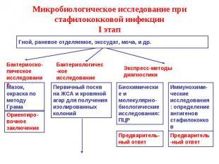 Микробиологическое исследование при стафилококковой инфекции I этап Гной, ранево