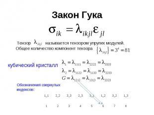 Закон Гука Тензор называется тензором упругих модулей. Общее количество компонен