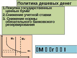 1.Покупка государственных ценных бумаг 2.Снижение учетной ставки 3. Снижение нор