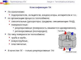 Классификация ТА По назначению: подогреватели, охладители, конденсаторы, испарит