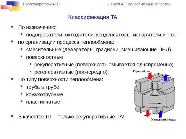 Классификация ТА По назначению: подогреватели, охладители, конденсаторы, испарители и т.п.; по организации процесса теплообмена: смесительные (деаэраторы, градирни, смешивающие ПНД), поверхностные: рекуперативные (поверхность омывается одновременно)…
