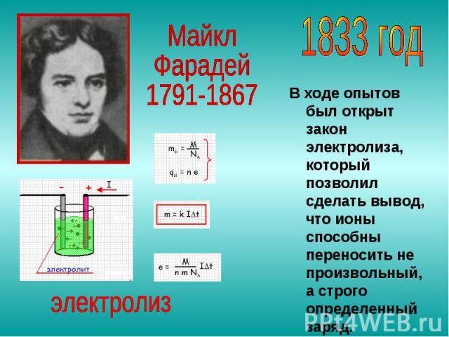 В ходе опытов был открыт закон электролиза, который позволил сделать вывод, что ионы способны переносить не произвольный, а строго определенный заряд.