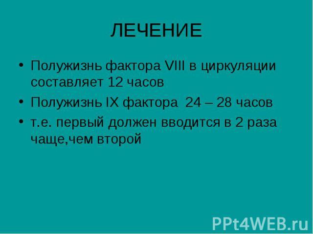ЛЕЧЕНИЕ Полужизнь фактора VIII в циркуляции составляет 12 часов Полужизнь IX фактора 24 – 28 часов т.е. первый должен вводится в 2 раза чаще,чем второй