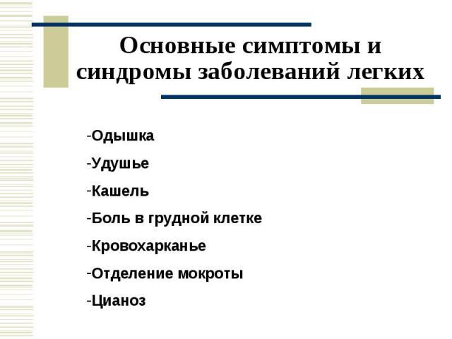 Основные симптомы и синдромы заболеваний легких Одышка Удушье Кашель Боль в грудной клетке Кровохарканье Отделение мокроты Цианоз