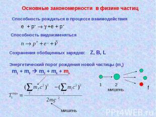 Основные закономерности в физике частиц Способность рождаться в процессе взаимод