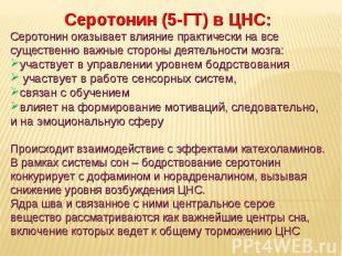 Дневное отделение фармацевтического факультета Серотонин (5-ГТ) в ЦНС: Серотонин