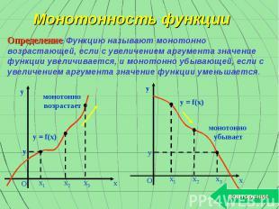 Монотонность функции Определение: Функцию называют монотонно возрастающей, если