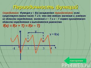 Определение: Функция y = f(x) называется периодической, если существует такое чи
