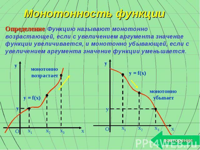 Монотонность функции Определение: Функцию называют монотонно возрастающей, если с увеличением аргумента значение функции увеличивается, и монотонно убывающей, если с увеличением аргумента значение функции уменьшается. y x O y x3 x2 x1 монотонно возр…