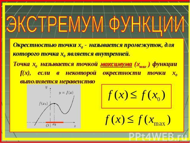 Точка х0 называется точкой максимума (xmax ) функции f(x), если в некоторой окрестности точки х0 выполняется неравенство Окрестностью точки х0 - называется промежуток, для которого точка х0 является внутренней.