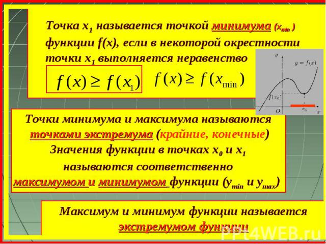 Точка х1 называется точкой минимума (xmin ) функции f(x), если в некоторой окрестности точки х1 выполняется неравенство Точки минимума и максимума называются точками экстремума (крайние, конечные) Значения функции в точках х0 и х1 называются соответ…