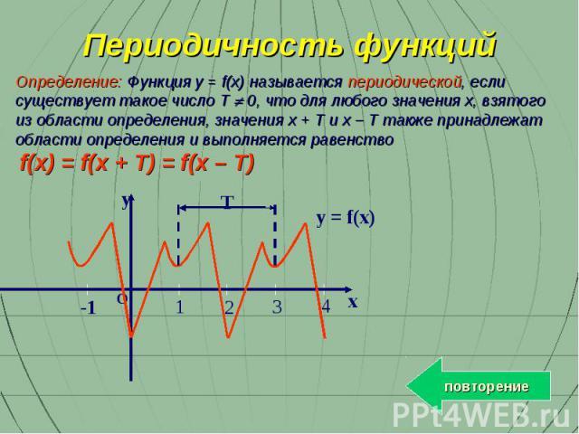 Определение: Функция y = f(x) называется периодической, если существует такое число T 0, что для любого значения x, взятого из области определения, значения x + T и x – T также принадлежат области определения и выполняется равенство f(x) = f(x + T) …