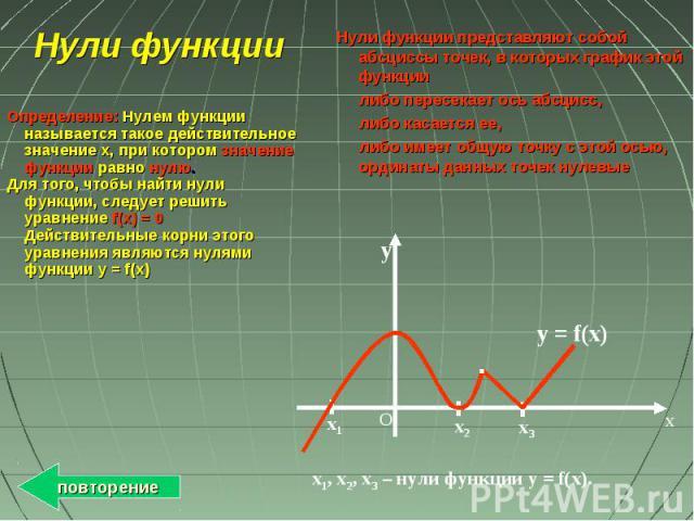 x y O x1 x3 x2 y = f(x) х1, х2, х3 – нули функции у = f(x). Нули функции Определение: Нулем функции называется такое действительное значение x, при котором значение функции равно нулю. Для того, чтобы найти нули функции, следует решить уравнение f(x…