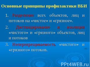 Основные принципы профилактики ВБИ 1. Разделение всех объектов, лиц и потоков на
