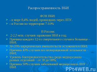 Распространенность ВБИ ФОН ВБИ: - в мире 8,4% людей, прошедших через ЛПУ. - в Ро