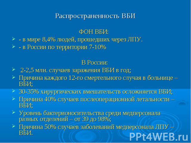Распространенность ВБИ ФОН ВБИ: - в мире 8,4% людей, прошедших через ЛПУ. - в России по территории 7-10% В России: 2-2,5 млн. случаев заражения ВБИ в год; Причина каждого 12-го смертельного случая в больнице – ВБИ; 30-35% хирургических вмешательств …