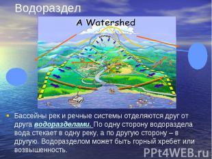 Водораздел Бассейны рек и речные системы отделяются друг от друга водоразделами.