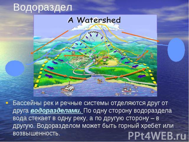 Водораздел Бассейны рек и речные системы отделяются друг от друга водоразделами. По одну сторону водораздела вода стекает в одну реку, а по другую сторону – в другую. Водоразделом может быть горный хребет или возвышенность.