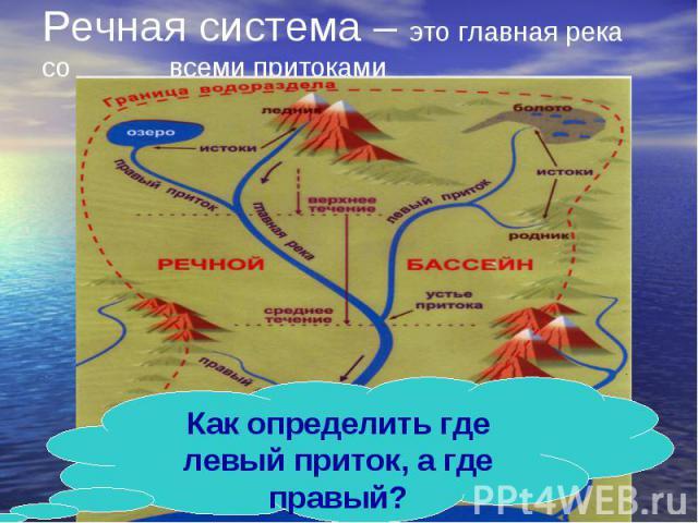 Как определить где левый приток, а где правый? Речная система – это главная река со всеми притоками