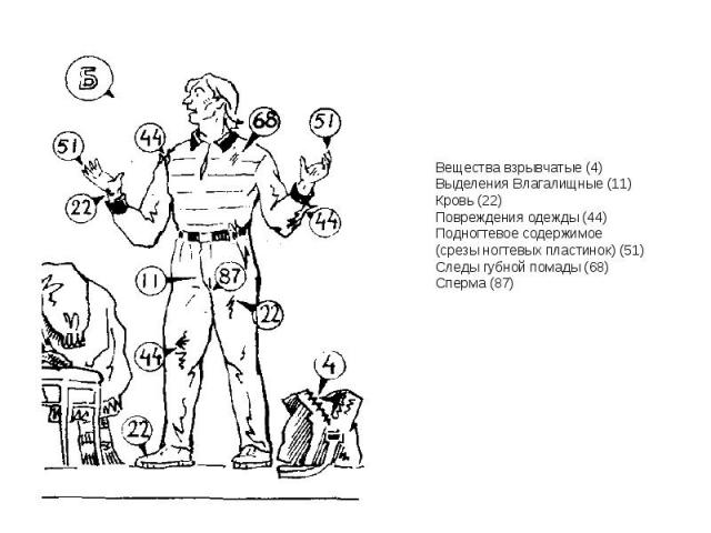 Вещества взрывчатые (4) Выделения Влагалищные (11) Кровь (22) Повреждения одежды (44) Подногтевое содержимое (срезы ногтевых пластинок) (51) Следы губной помады (68) Сперма (87)