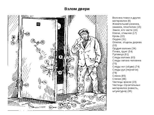 Волокна ткани и других материалов (8) Жевательная резинка, замазка, пластилин (15) Замок, его части (16) Ключи, отмычки (17) Кровь (22) Окурки (31) Опилки, отщеоы дерева (33) Орудия взлома (34) Почва, грунт (54) Пуговица (61) Следы взлома (63) Следы…