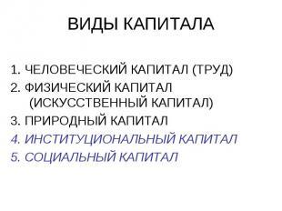 ВИДЫ КАПИТАЛА 1. ЧЕЛОВЕЧЕСКИЙ КАПИТАЛ (ТРУД) 2. ФИЗИЧЕСКИЙ КАПИТАЛ (ИСКУССТВЕННЫ