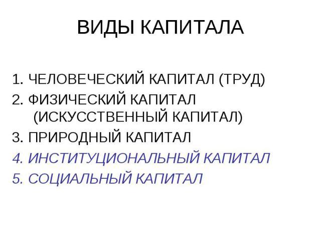 ВИДЫ КАПИТАЛА 1. ЧЕЛОВЕЧЕСКИЙ КАПИТАЛ (ТРУД) 2. ФИЗИЧЕСКИЙ КАПИТАЛ (ИСКУССТВЕННЫЙ КАПИТАЛ) 3. ПРИРОДНЫЙ КАПИТАЛ 4. ИНСТИТУЦИОНАЛЬНЫЙ КАПИТАЛ 5. СОЦИАЛЬНЫЙ КАПИТАЛ