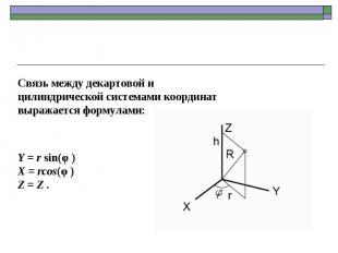 Связь между декартовой и цилиндрической системами координат выражается формулами