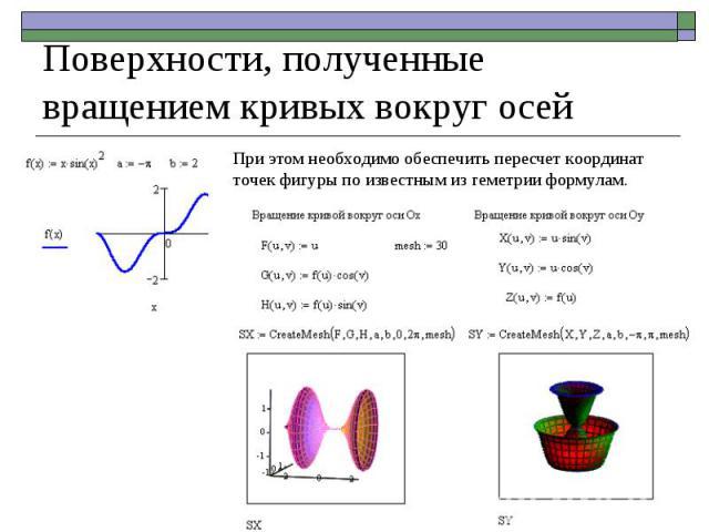 При этом необходимо обеспечить пересчет координат точек фигуры по известным из геметрии формулам. Поверхности, полученные вращением кривых вокруг осей